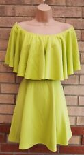 GLAMOUR BABE NEON GREEN RUFFLE SKATER FLARE PROM PARTY EVENING DRESS 10 S