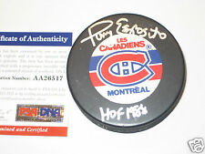 TONY ESPOSITO Signed Montreal Canadiens LOGO Puck w/ PSA COA & HOF Inscription