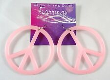 New Glow in the Dark Pink Peace Sign Earrings #E1212