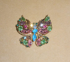 Beautiful D&E Juliana Butterfly Pin w/ Fruit Salad Pastel Rhinestones