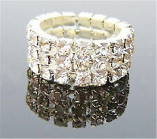 White gold tone 3 row clear crystal stretch ring
