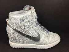 Nike Dunk Sky Hi Womens SZ 7 Liquid Metal Metallic Silver Lace White 705071 001