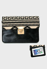 DESIGNER INSPIRED BLACK AZTEC PATTERN FAUX LEATHER TOUCH SCREEN CLUTCH BAG