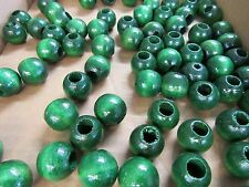 """200 ROUND GREEN  3/4"""" WOOD WOODEN   BEADS JEWELRY MAKING MACRAME  CRAFTS"""