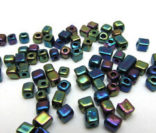 Free shipping Loose Charm 3-4MM 180pcs Glass Square spacer Beads brown purpleAB