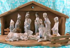 Lladro #'s 4670 - 4680 ~ Complete 11 Pc. W/Stable  CHILDREN'S NATIVITY  *MINT*