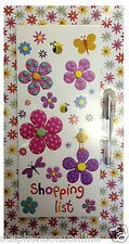 Marzipan Garden Flowers Magnetic Shopping Planner With Pad & Gel Pen