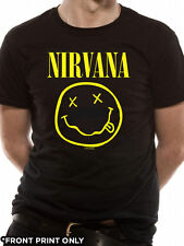 Nirvana Smiley Without Back Print T-Shirt Licensed Top Black XL