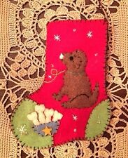"CHRISTMAS ORNAMENT: HANDMADE ""HAND STITCHED""  FELTED WOOL 4"" STOCKING - ""DOG"""
