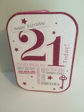 21st birthday Card pink glitter Cards Female Family Or Girl Friend Pink Envelope