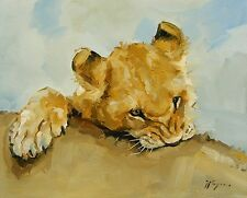 Original Oil painting - realism - wildlife art - lion cub  - by j payne
