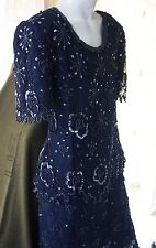 EXC Beaded Lace Navy Blue Scala Short Sleeve Gown Dress Womens Petite Medium PM