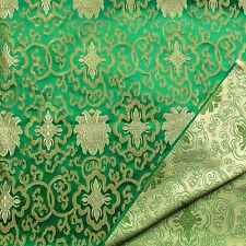 0.5Yard Faux Silk Chinese Brocade Fabric(Emerald Green w Pale Gold Wealthy)2013