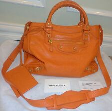FAB! NWT $1985 Authentic BALENCIAGA Velo Shoulder Crossbody Golden BAG tangerine