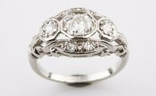 Vintage Platinum Round Brilliant Shape Cut 3 Stone Diamond Engagement Ring*