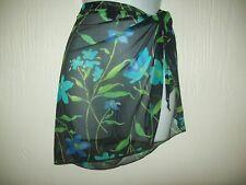 Womens Swim Wrap Skirt Black With Blue Floral Print Beach Wear NY& CO