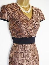 NEAT PER UNA M&S PENCIL GALAXY DRESS 14 STRETCH COPPER GOLD BLACK PATTERN SHIFT