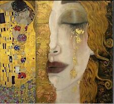 Freya's Tears Classic Fine art Gustav Klimt HUGE Oil Painting on Canvas 28x28""