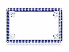 Bling 2 Row Motorcycle BLUE Real Crystal Embedded Chrome License Plate Frame