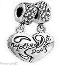 1Set Silver Tone Mother & Daughter Heart Dangle Charm Beads Fit Charm Bracelet