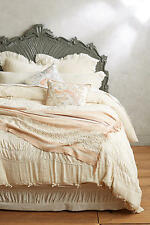 New Anthropologie Neutral with Ruching Toulouse King Duvet and 2 King Shams