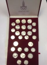 USSR 1977-1980 Set 28 Silver Proof Coins 10 5 Roubles Moscow Olympics Russia