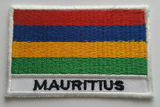 NATIONAL OLYMPIC COUNTRY FLAG (SMALL) SEW ON / IRON ON PATCH:- MAURITIUS