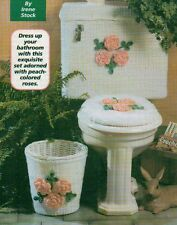 BATHROOM SET ROSES TOILET TANK COVER DIGEST SIZE CROCHET PATTERN INSTRUCTIONS