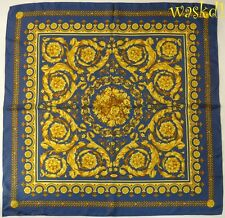 "VERSACE blue BAROQUE Scroll BOUQUET center Silk Twill 35"" Large scarf NEW Authen"