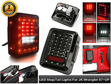 For 07-16 Jeep Wrangler JK Clear LED Rear Tail Light Brake Turn Signal Reverse