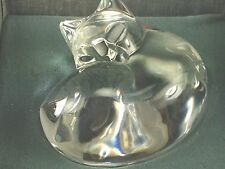 Steuben Crystal Glass Curled Sleeping Cat Hand Warmer/Paperweight Boxed Atkins