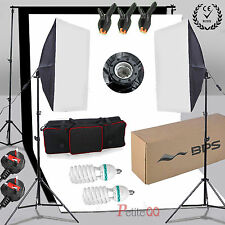 BPS 1250WW Softbox Photo Video Studio Lighting 2x Backdrop  Background Stand Kit