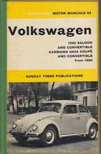 VW BEETLE 1200 & KARMANN GHIA 1200 SALOON COUPE CABRIOLET 1960-1965 REPAIR BOOK