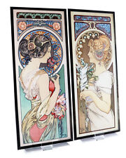 Mucha Stained Glass - Feather & Primrose by Alphonse Mucha - 2 Art Glass Panels
