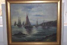 Ancien tableau HST Marine, bateaux de pêche voiliers signé H.Lehmann