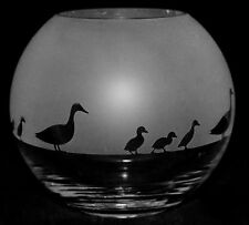 *Duck Gift* 15cm Boxed Crystal Glass Globe Vase with Duck & Duckling Frieze