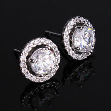 Vintage Luxury 18k White Gold Filled Round Halo Clear Sapphire Ladies Earrings