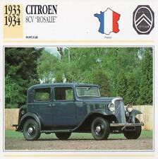 "1933-1934 CITROEN 8-CV ""Rosalie"" Classic Car Photograph / Information Maxi Card"