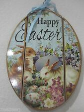 "Primitive Vintage Style Easter Wood Sign Decorations ""Happy Easter"" Rabbit NEW"