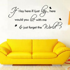 """If I Lay Here""Snow Patrol Art Vinyl Quote Wall Sticker Decals Home Decor ukina"