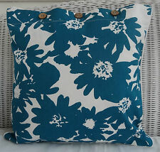 TEAL & WHITE PRINTED CUSHION COVER - TROPICAL LOOK SCATTER, THROW PILLOW COVER