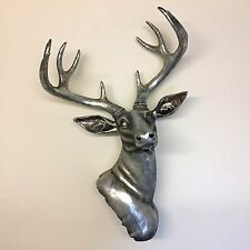 Stag Wall Hanging Resin Christmas Reindeer Deer Ornament Silver Sculpture Art