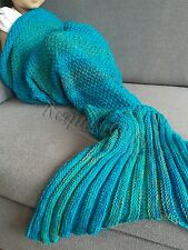 Handmade Crochet Knit soft Mermaid Tail Sofa Blanket Sleeping Bag for Kids Blue