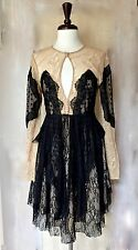 NWT Free People Special Edition black nude Mixed Lace Fit & Flare Dress 0 $300