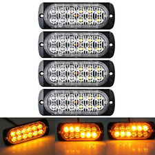 4x 12v 24v AMBER RECOVERY STROBE 36W 12 CREE LED LIGHTS GRILL BREAKDOWN FLASHING