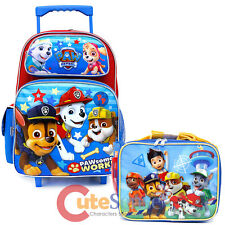 "Paw Patrol School Roller Backpack 16"" Large Rolling Lunch Bag 2pc Set - Paw Work"