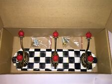 MacKenzie Childs Courtly Check Triple Enamel Wall Hook ~ Brand New in Box