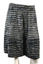 MARNI White & Blue Gray Droplet Print Cotton Pleated A-Line Skirt 38