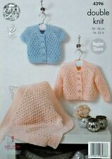 KNITTING PATTERN Baby Lacy Cardigans and Lacy Blanket DK 4396