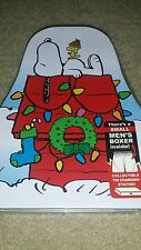 New Men's Peanuts Snoopy XMas Boxers In Collectible Tin Charging Station Small